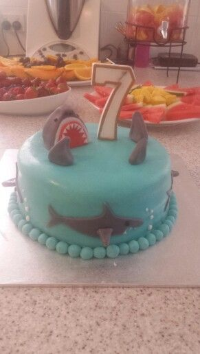 7th birthday water party. Shark cake. Red velvet.