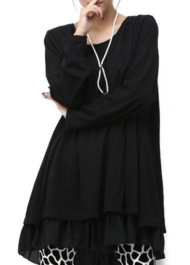Long Sleeve Knitted Black Faux Two Piece Dress
