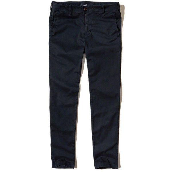 Hollister Super Skinny Chino Pants ($50) ❤ liked on Polyvore featuring men's fashion, men's clothing, men's pants, men's casual pants, navy, mens twill pants, mens stretch pants, mens skinny chino pants, mens navy blue pants and mens chinos pants