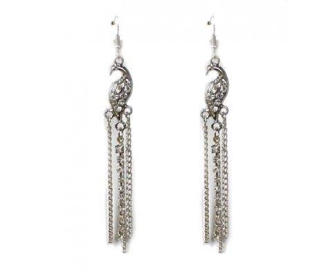 Dlhé náušnice retiazkové s pávom strieborné; peacock jewelry #womanology #jewelry #accessories #peacockjewelry