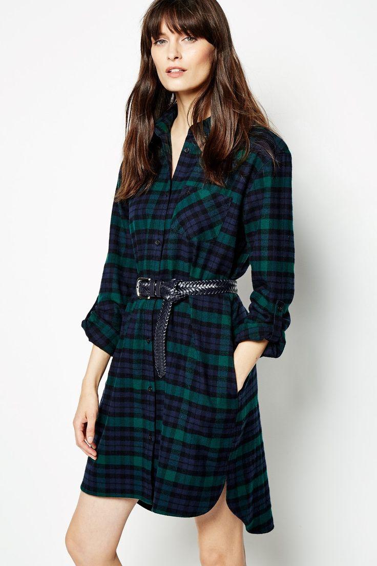 MAGGIE CHECKED SHIRT DRESS GREEN