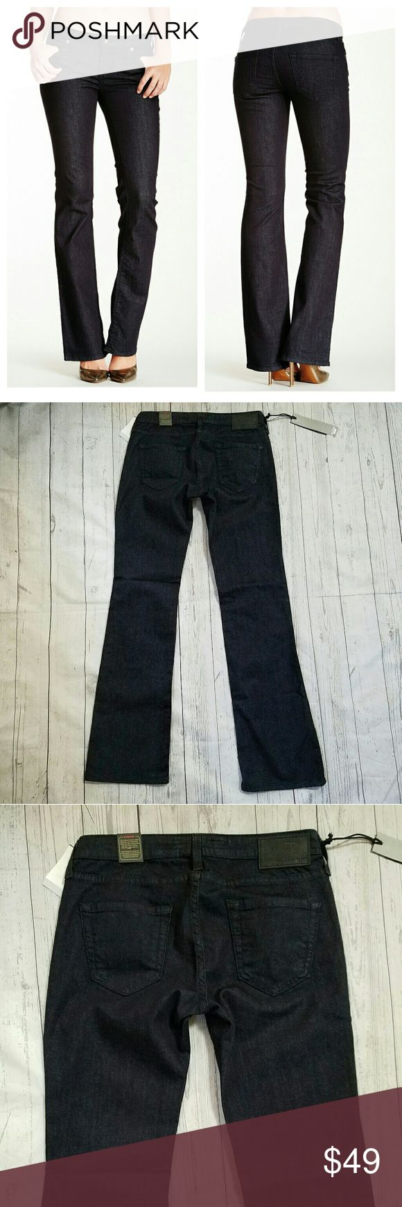 Big Star Pride Boot Cut Jeans 28 x 33 Callisto wash, low-rise jeans. Zip fly and button closure. 5 pocket. 98% cotton 2% spandex. 15.5 inches across the top of the waist, 7.5 inch rise, 18.5 inches across the hips, 33 inch inseam. Big Star Jeans Boot Cut