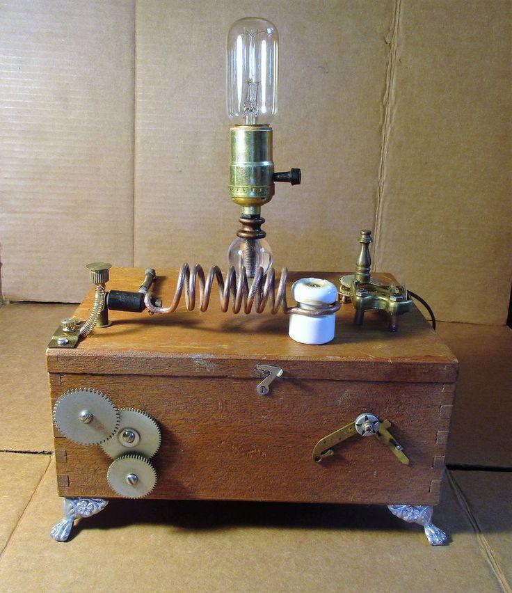 SteampunkIndustrial Mad Science lamp repurpose piece 32