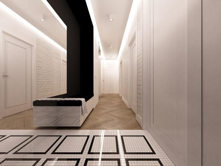 Ascetyczny biało-czarny korytarz z eklektycznymi listwami ściennymi