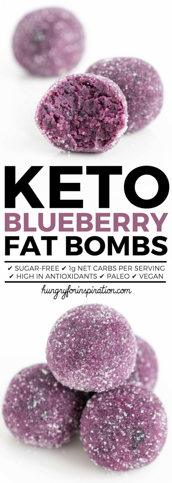 Healthy Blueberry Keto Fat Bombs! Don't they look absolutely gorgeous? No Food c…