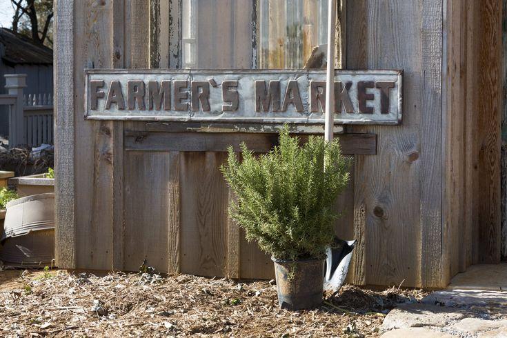 "Vintage Embossed Metal ""Farmer's Market"" Sign"