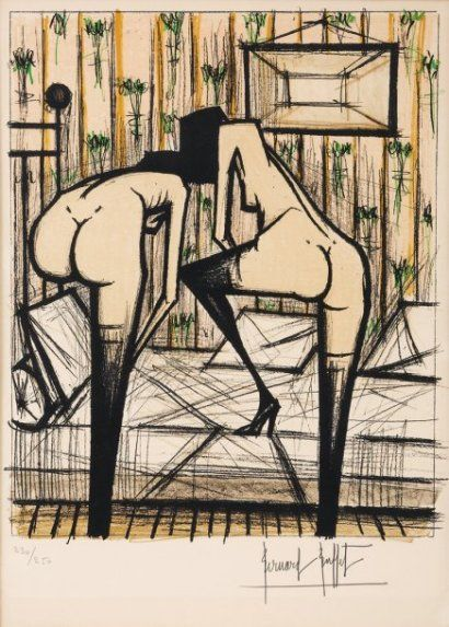 Bernard Buffet (1928-1999)  Jeux de dames, 1970, lithographie en sept couleu
