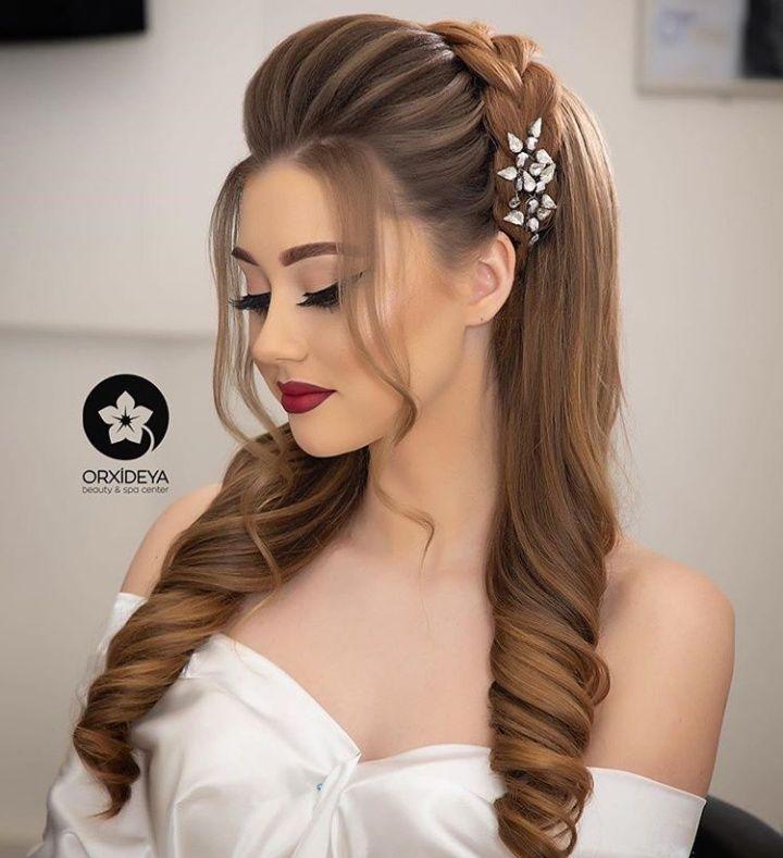 Pin By Aysun Mirzeyeva On Orxideya Makeup Baku Front Hair Styles Bridal Hair Buns Hair Styles