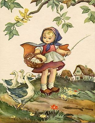 Antique/Vintage inspired note card Blank inside Girl in garden with Geese