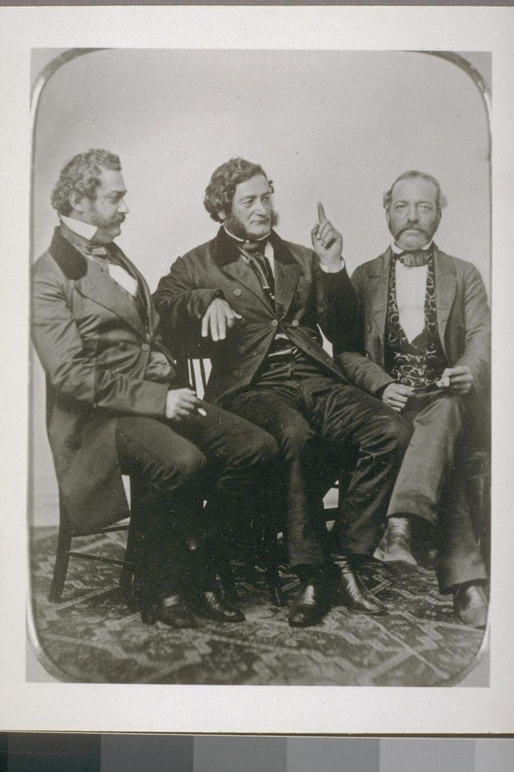 Pablo de la Guerra, Salvador Vallejo, Andrés Pico, from original daguerretype; Bancroft Library