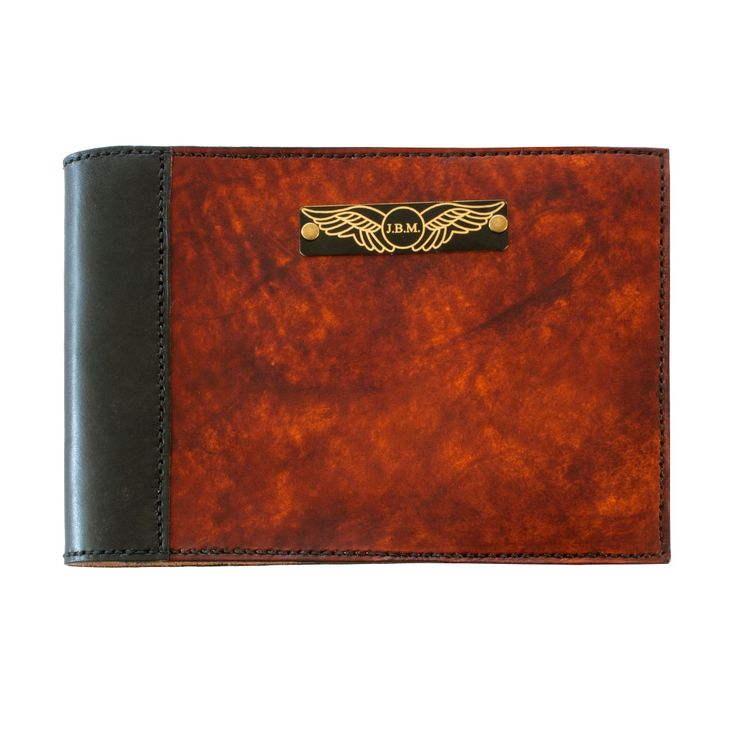 FREE OS shipping. Sparrowhawk Pilot's Logbook Cover for Jeppensen logbook - Made to order, hand dyed, hand stitched. 100% full grain russet leather. Engraved black on brass plate with central initials. Hand made to order by Fiona Ritchie for Sparrowhawk Leather NZ.  FREE overseas shipping.