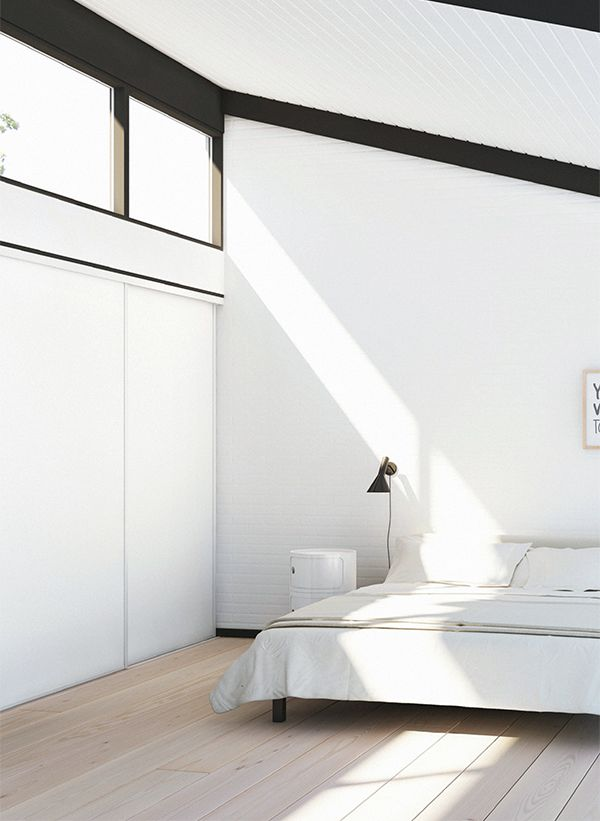 Bedroom. Minimalist. Decor. Design. Interiors. White. Light.