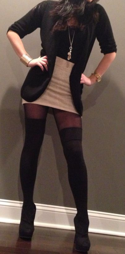 Neutral skirt, sheer black nylons, black thigh highs... In love! (unfancy this with a big chunky knit sweater in place of a blazer?)