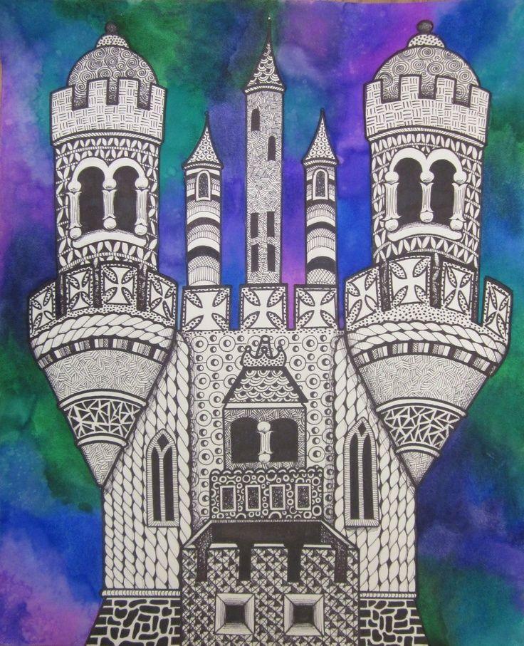 Middle School Art Lessons | Zentangle Castles with Watercolor Middle School Lesson | art ideas
