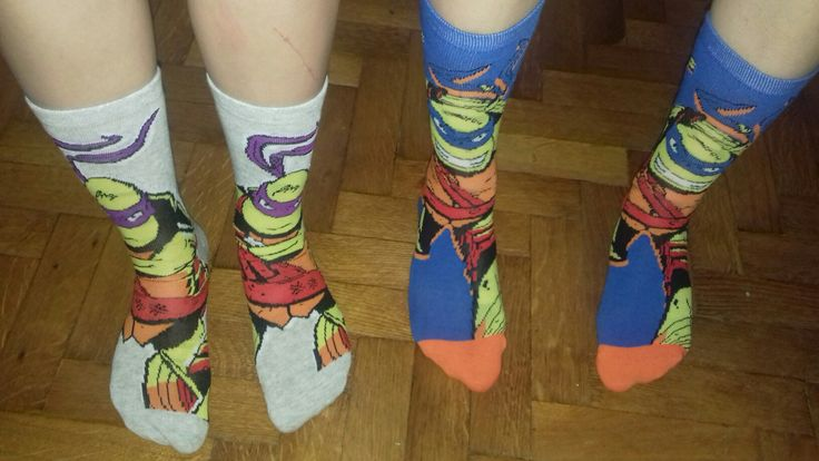 My bestie and I bought some matching mutant teenage ninja turtles socks. Because why not? :'D