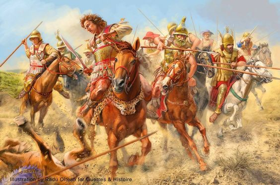 Alexander the Great and his Companion cavalry attacking. Art by Radu Oltean.