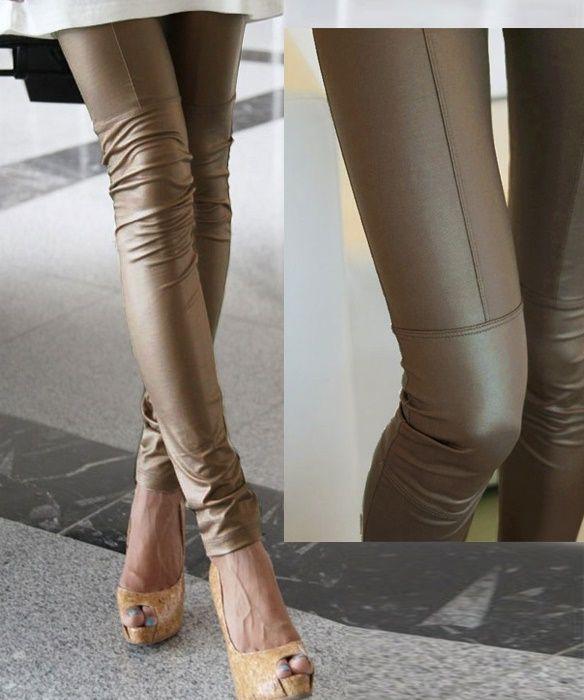 Leggings aspect simili cuir kaki TU 34/40 - bestyle29.com