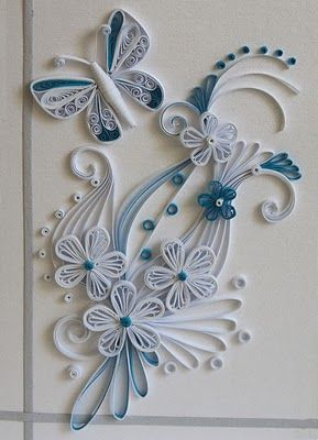 blue and white with butterfly - beautiful!