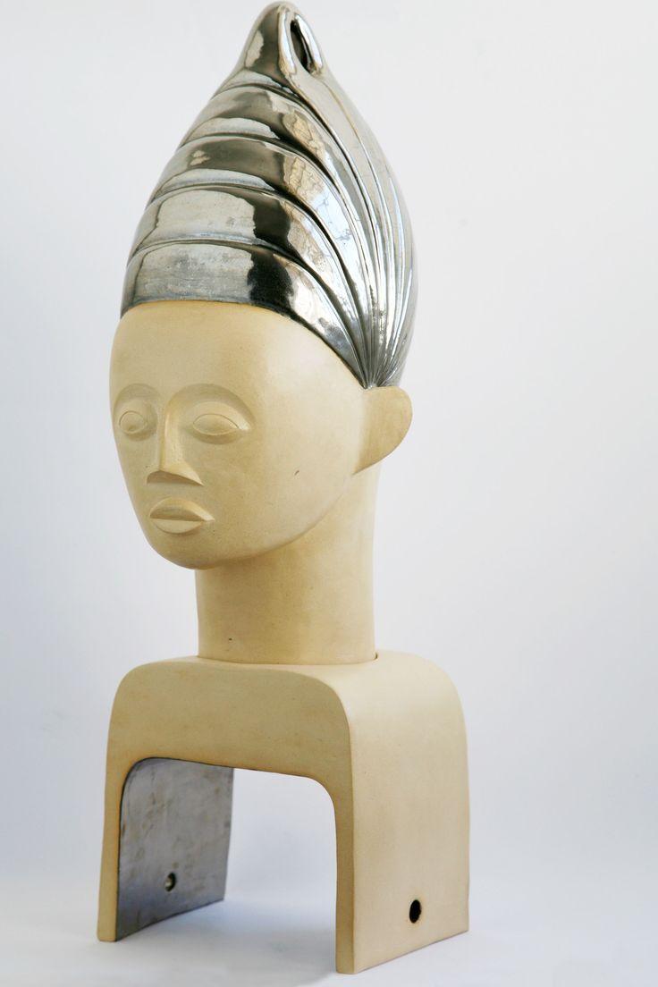 Sister Moon ceramic and platinum lustre African inspired head sculpture Belinda Ormond
