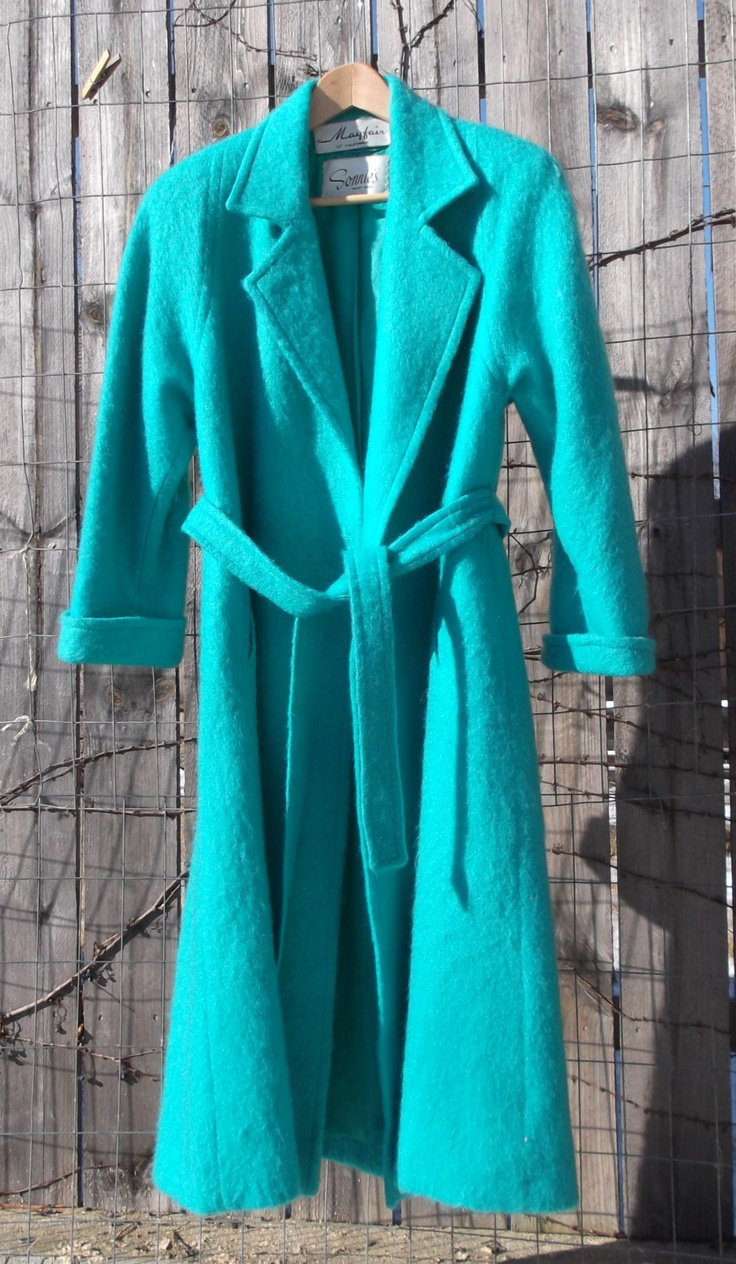 TURQUOISE Mayfair of California Mohair belted coat size 12 check measurements. $120.00, via Etsy.