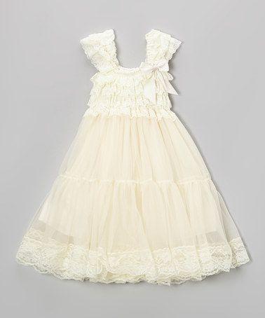 Royal Gem Cream Lace Babydoll Dress Infant Toddler