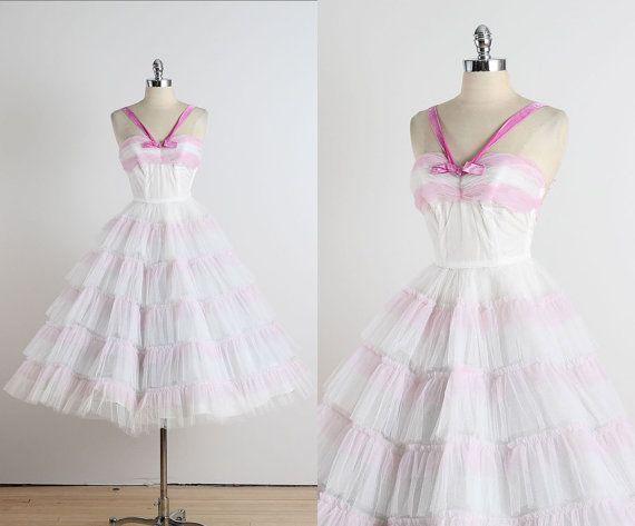 AUF Verkauf 50er Jahre Kleid / / Vintage 1950 rosa Chiffon