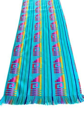 Mexican Fabric Table Runner or Tablecloth Turquoise