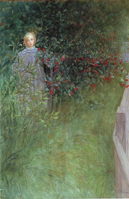 Carl Larsson - In The Hawthorn HedgeIn