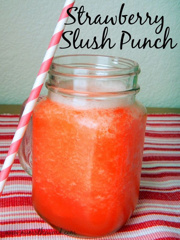 This strawberry slush punch is our new family favorite!  Easy to make and SOOOO good.  We like it so much we eat it as a sorbet, add it to our smoothies and of course, drink it as a slush punch!!