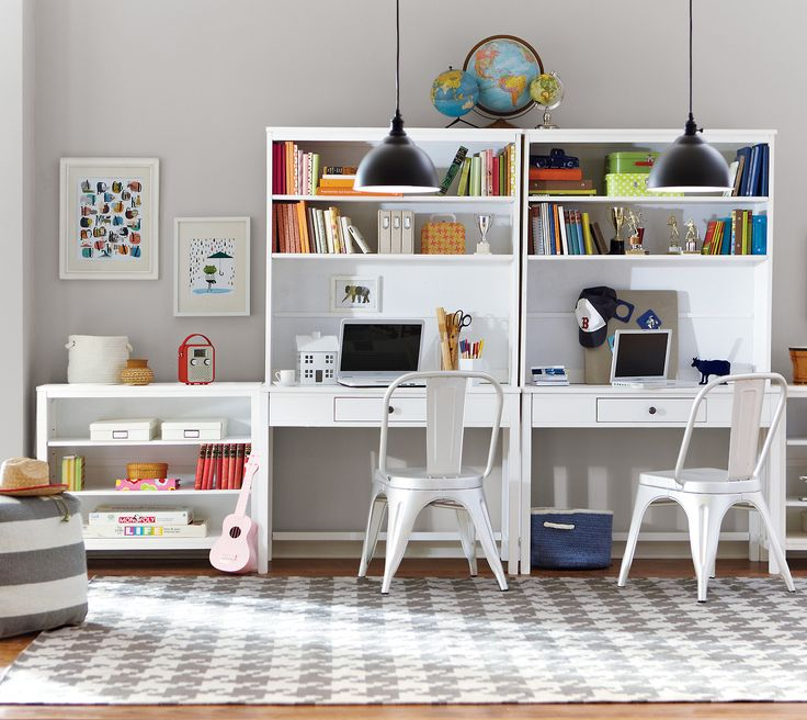 FOR THE [LITTLE] OFFICE: Create a study space for your kids with coordinating desks, hutches and bookcases. #deerfield #spencerandgracie