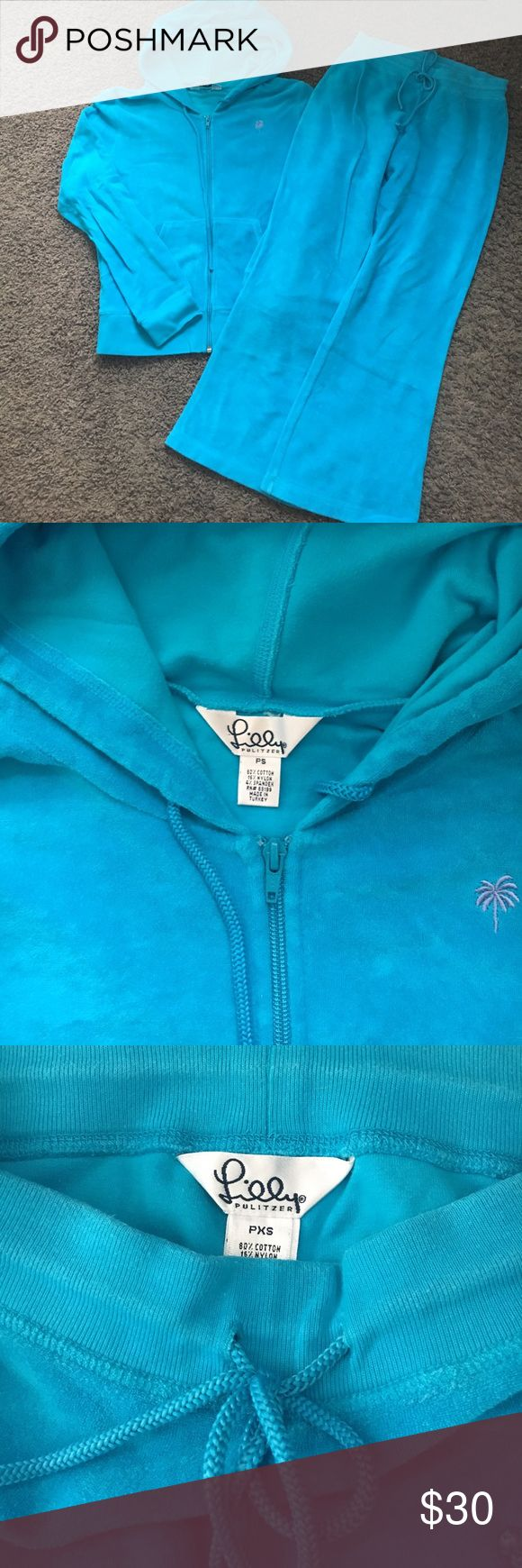 Lilly Pulitzer terrycloth hoodie and cropped pants Lightly worn Lilly Pulitzer turquoise terrycloth zip up hoodie size petite small and cropped pants size petite XS. Lilly Pulitzer Pants Track Pants & Joggers