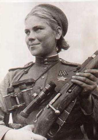 Roza Shanina, a Soviet sniper during World War II, credited with 54 confirmed target Kills. About 400,000 Soviet women served in front-line duty units, chiefly as medics and nurses.