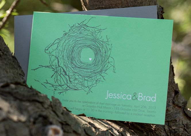 Laura K Birds Nest and Feather Wedding Invitation