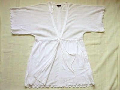 Ażurowe białe wdzianko sweterek eleganckie 40 L