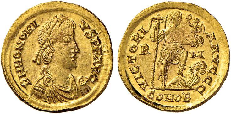 NumisBids: Nomisma Spa Auction 50, Lot 38 : ROMA IMPERO Onorio (395-423) Solido (Roma) - Testa diademata a d. –...
