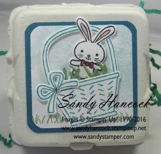 Sandy's Mini Egg Cartons: Basket Bunch and Basket Builder Framelits - all from Stampin' Up!
