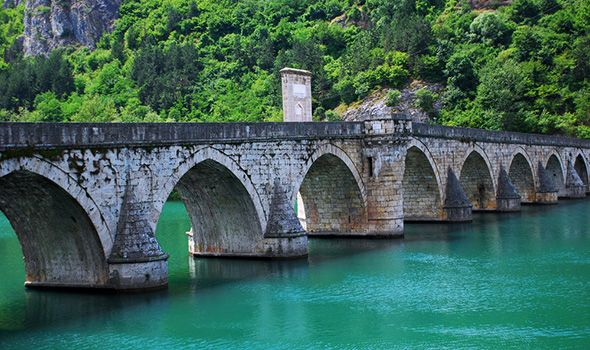 Mehmed Pasa Sokolovic Bridge, Bosnia and Herzegovina: This Turkish styled bridge was designed by Mimar Sinan, regarding as one of the greatest architects of the classical Ottoman period and Italian Renaissance.