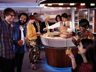 Enjoy a prof'l artisan cocktail service in the lounge at 40'000 feet First Class Cabin Features | Cabin Features | The Emirates Experience