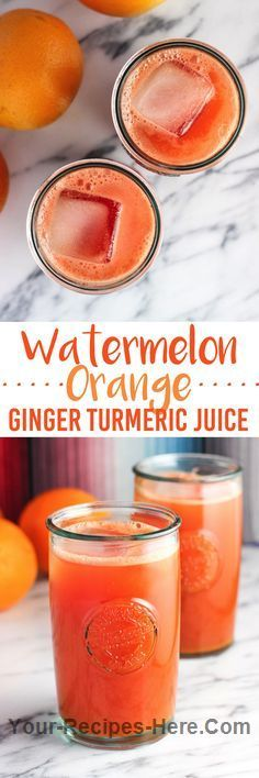 Watermelon orange ginger turmeric juice is a frothy, refreshing juice spiced up with superfoods! This juice is smooth with no juicer… Ingredients Vegan, Gluten free, Paleo Produce 3 knob Ginger, root 7 cups Watermelon Baking & Spices 3/4 tsp Turmeric, ground Drinks 18 oz Orange juice, freshly squeezed