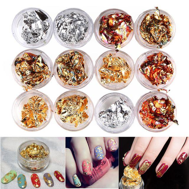 12 Pot/Set Nail Art Gold Silver Paillette Flake Chip Foil Kit Acrylic Gel Polish Tips 3D Design Sticker Manicure Pedicure Decal