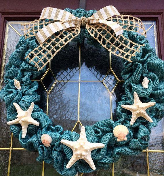 Summer, Spring, Beach, Teal Burlap Wreath w/ Starfish & Seashells by TheCraftyChicShoppe, $45.00