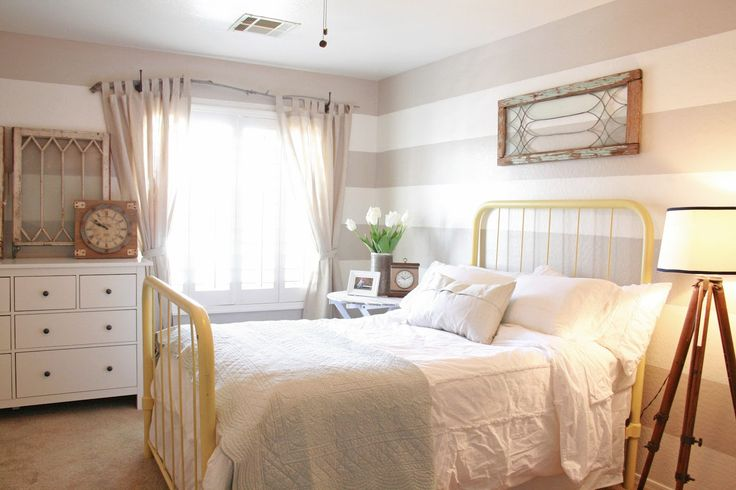 Grand DesignGuest Room, Home Tours, Stripes Wall, Guest Bedrooms, Grand Design, Beds Frames, Neutral Bedrooms, Iron Beds, Accent Wall