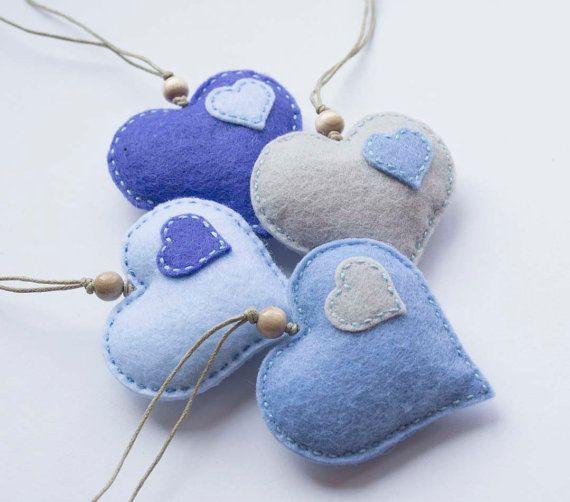 Blue felt  hearts ornament - set of 4, felt heart wedding favor,, valentine gift