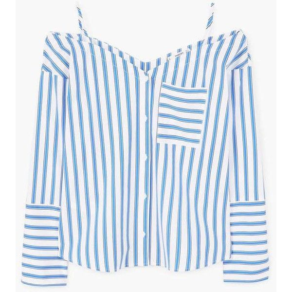 MANGO Striped off-shoulder blouse (€45) via Polyvore featuring tops, blouses, long sleeve cotton tops, striped off-the-shoulder tops, striped off the shoulder top, striped tops et off the shoulder long sleeve top