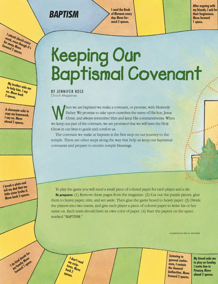 Baptismal covenant game from Friend magazine.