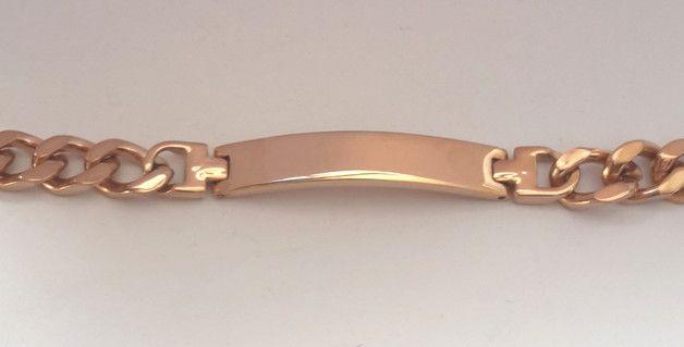 Elegant und trendig! Hochwertiges rosegoldenes Armband mit Gravurplatte.  Das exklusivie Panzerarmband wurde aus massivem Edelstahl gefertigt und ist rosé vergoldet.