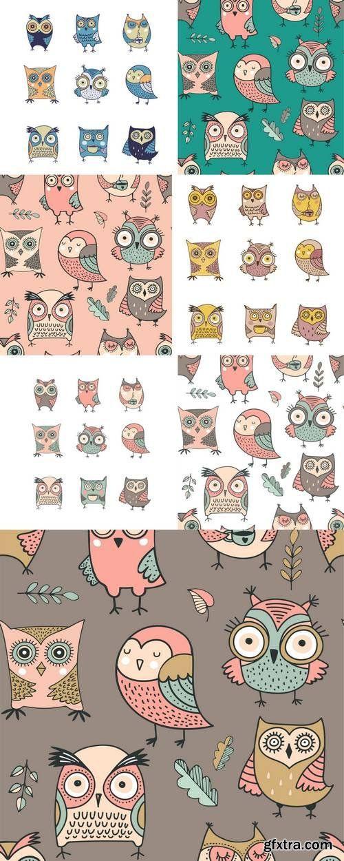 Cute, Hand Drawn Owl Pattern