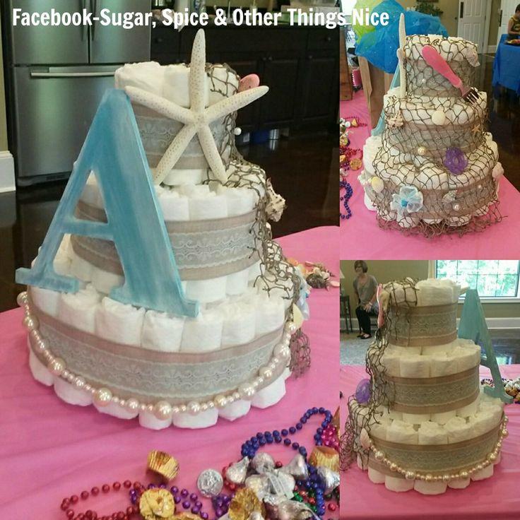 Under The Sea/Little Mermaid Diaper Cake . . #diapercake #baby #mermaid