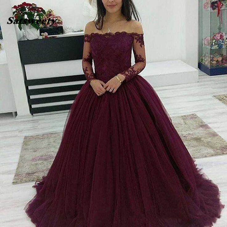 Deep Purple Long Tulle Prom Dresses,Off the Shoulder Applique Ball Gown