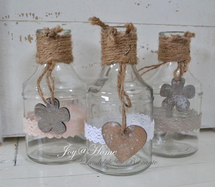 Flesjes met touw, bloem of hartje & een kantje